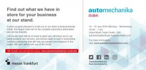 Automechanika Dubai 2019 Stand A23 in Hall 2